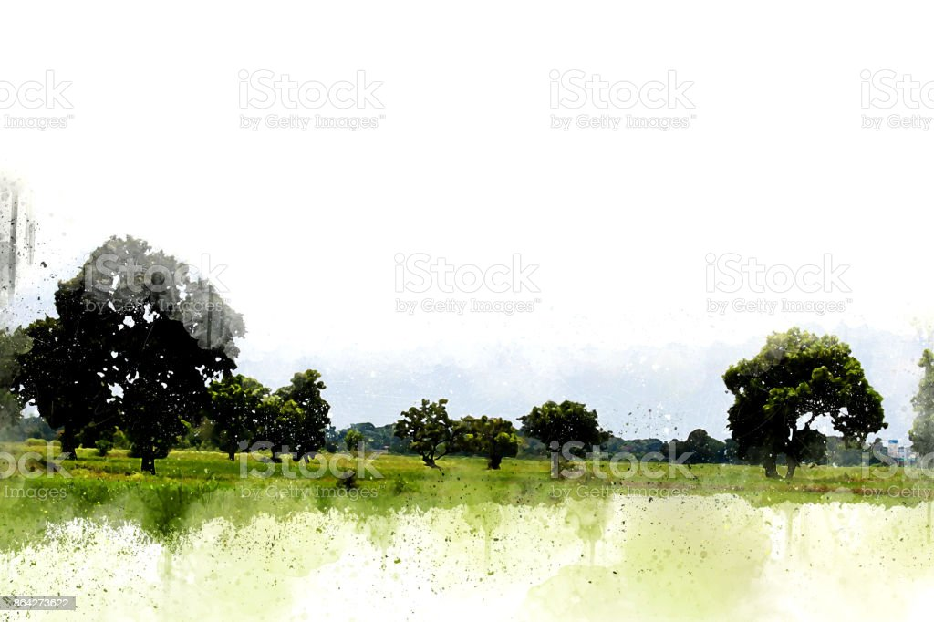Abstract beautiful tree and Field on colorful watercolor painting background. royalty-free stock photo