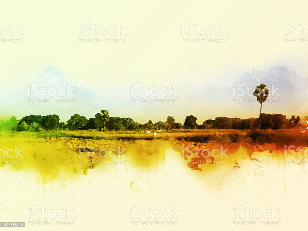 Abstract beautiful tree and Field on colorful watercolor painting background. stock photo