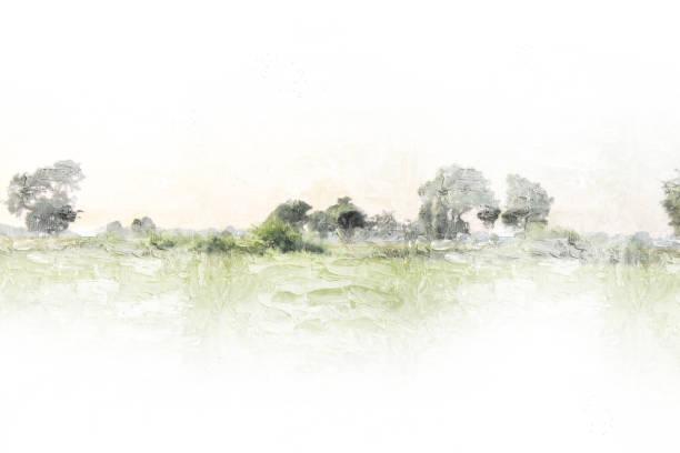 abstrakte schöner baum und landschaft auf bunte aquarell hintergrund. - kochkunst stock-fotos und bilder