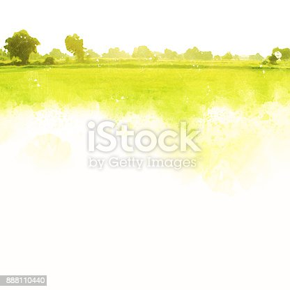 istock Abstract beautiful tree and landscape on colorful watercolor painting background. 888110440
