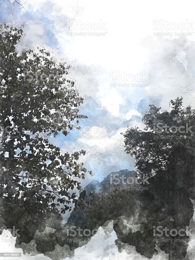 Abstract beautiful tree and landscape on colorful watercolor painting background. stock photo