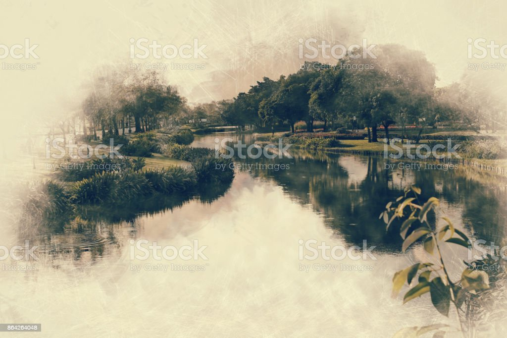 Abstract beautiful tree and river on colorful watercolor painting background. royalty-free stock photo