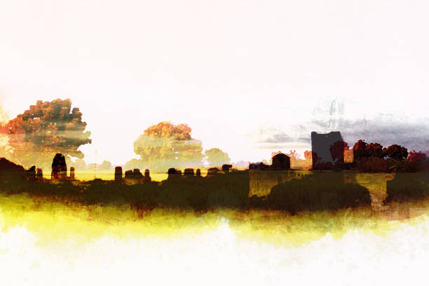 abstract beautiful tree landscape exposure building in the city watercolor illustration painting background. - double exposure стоковые фото и изображения