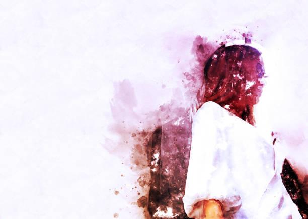 abstract schöne frau unterwegs und zu fuß straße in der stadt auf aquarell illustration malerei hintergrund. - malerei schuhe stock-fotos und bilder