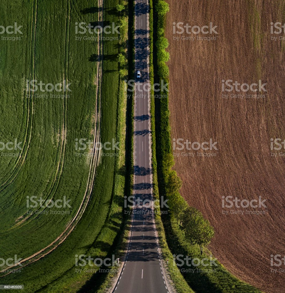 Abstract, bend perspective road stock photo