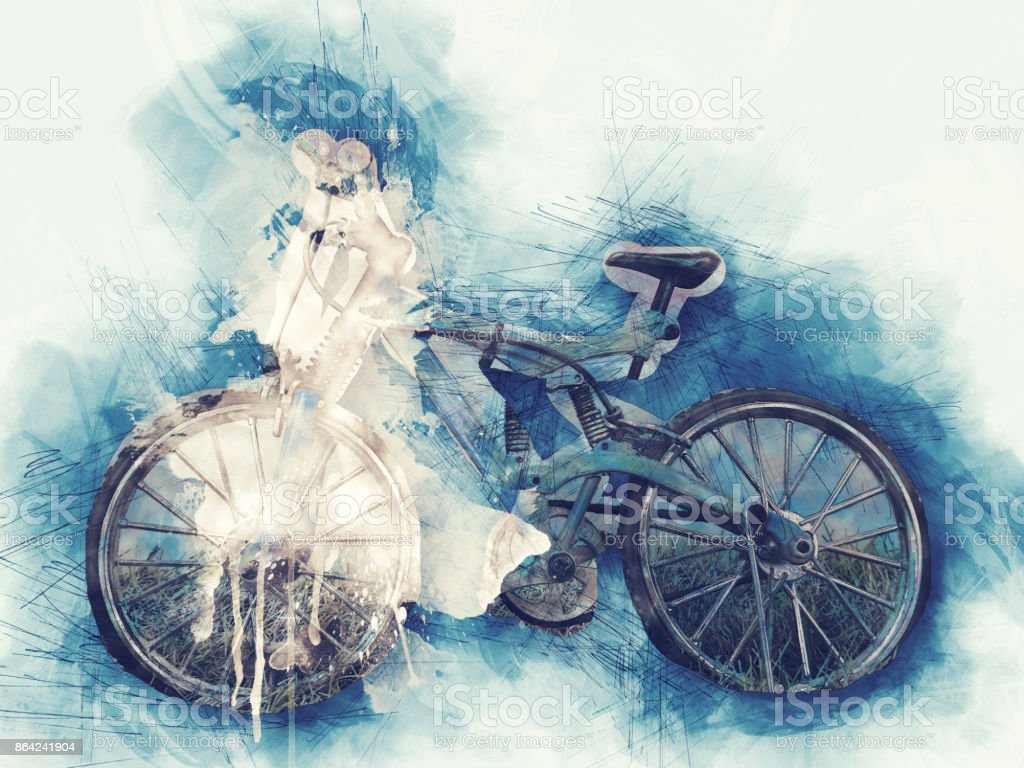 Abstract bicycle on watercolor painting background. royalty-free stock photo