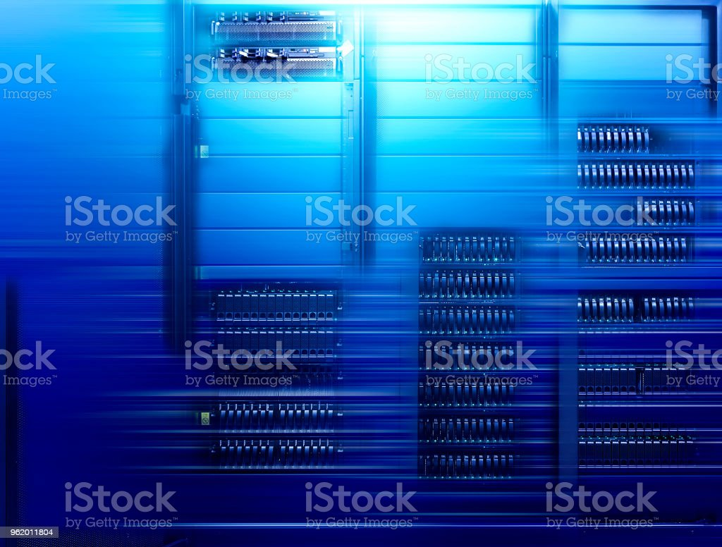 Abstract big data center highspeed server storage with motion blur stock photo