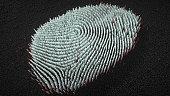 Abstract big data Fingerprint illustration - 3d illustration. Big Data concept. Pixelate. Many (over 400 000 bars). Dactyloscopy.