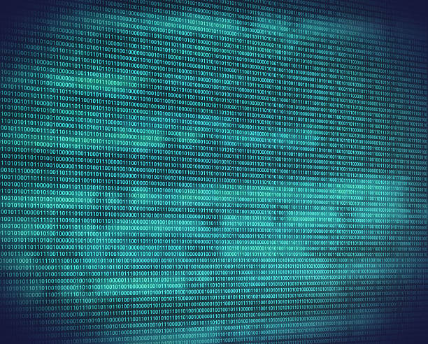abstract binary turquoise code on digital screen - horse bit stock photos and pictures