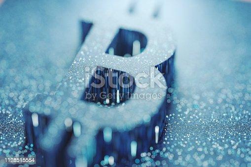 istock Abstract Bitcoin geometric shape background 1128515554