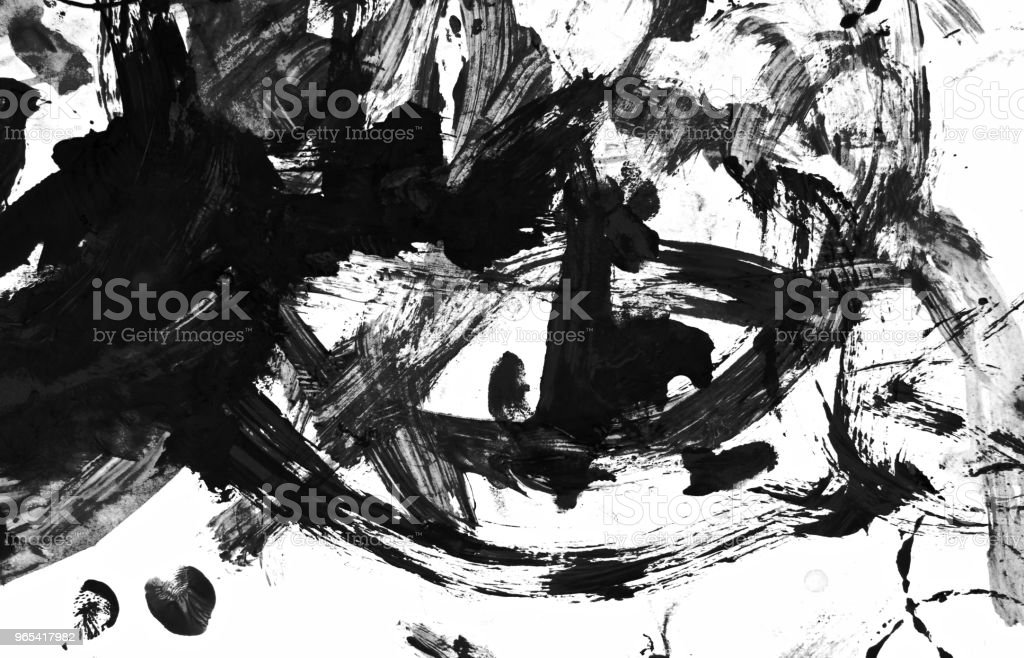 Abstract black acrylic hand painted background. Fashion and beauty. Isolated on white background. Black and white colors. Close up. zbiór zdjęć royalty-free