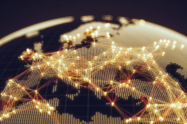 world map connections stock photos