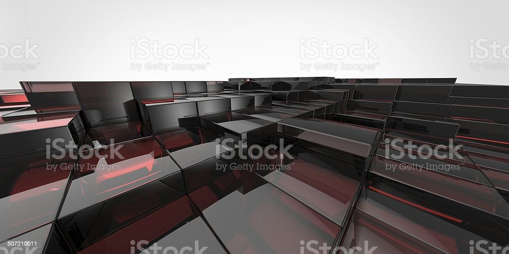 Abstract black and red  glass background of 3d blocks royalty-free stock photo