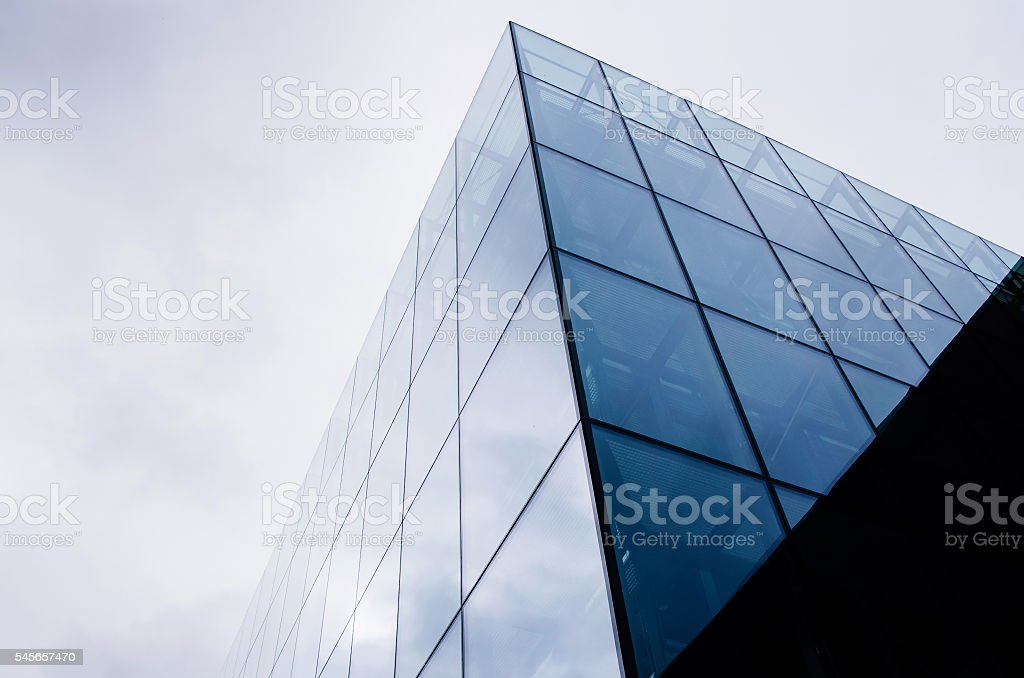 Abstract black and white architecture on sky background stock photo