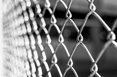 istock Abstract black and white background of metal wire fence 479994648