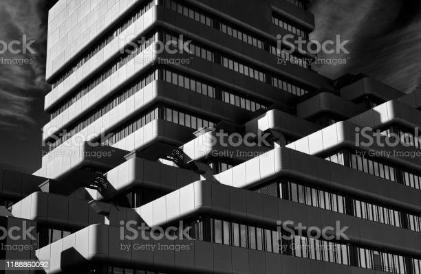 Abstract black and white photograph of office buildings
