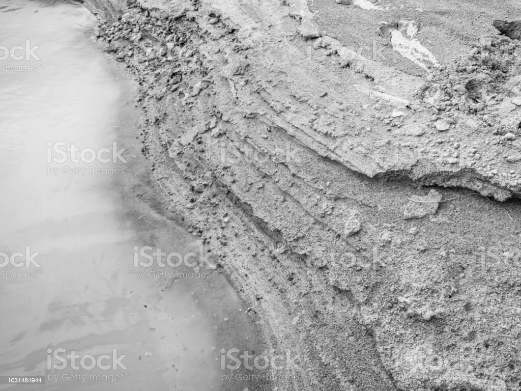 Abstract black and white tone of volcanic lake and sand stock photo download image now