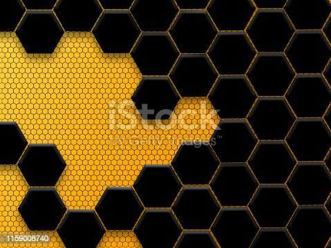 istock Abstract black and yellow honeycomb background 1159008740