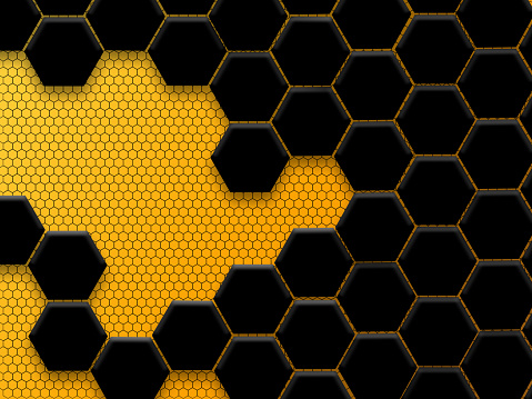 Abstract black and yellow honeycomb background