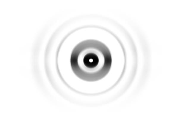 Abstract black circle sound waves oscillating on white background stock photo