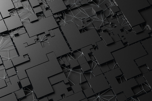 3D rendering of abstract black cube blocks, geometric shapes. Abstract background, technology concept.