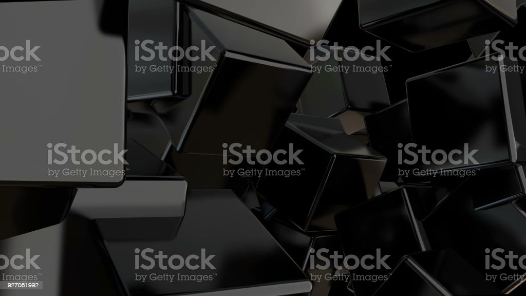 Abstract black cubes background. Digital backdrop stock photo