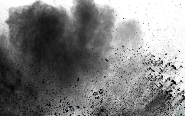 abstract black dust explosion on white background. - dirty stock pictures, royalty-free photos & images
