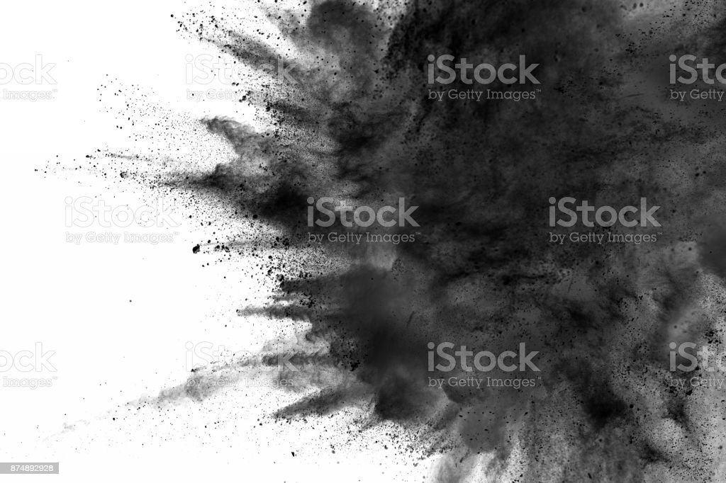 abstract black dust explosion stock photo