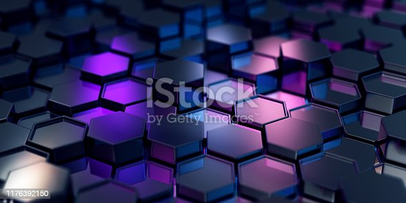 882222132 istock photo Abstract Black Hexagons 1176392150