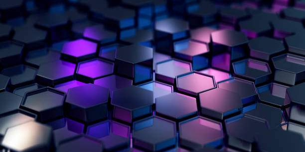 Abstract Black Hexagons stock photo