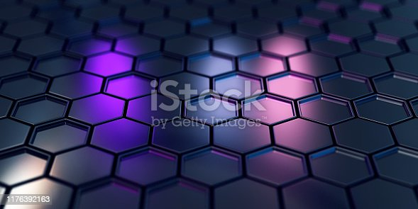 882222132 istock photo Abstract Black Hexagons 1176392163