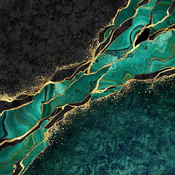 abstracte zwarte marmeren groene malachietachtergrond met gouden aders, japanse kintsugitechniek, valse geschilderde kunstmatige steentextuur, gemarmerde oppervlakte, digitale marmeren illustratie - malachiet stockfoto's en -beelden