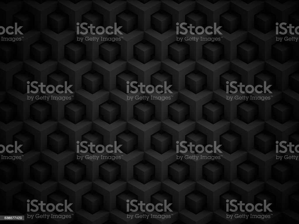Abstract black polygonal 3D pattern stock photo