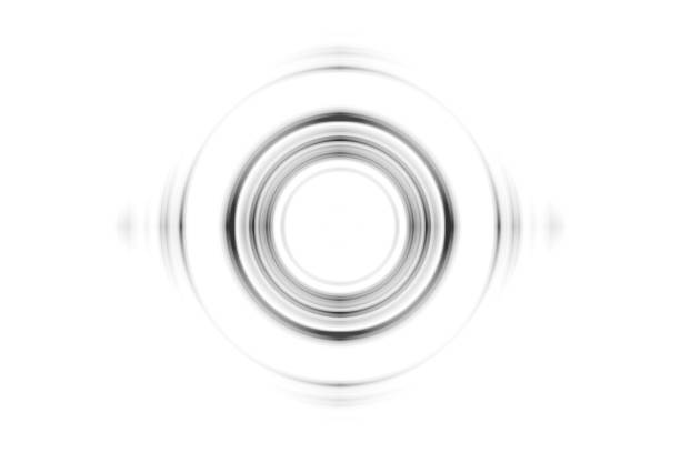 Abstract black rings sound waves effect on white background stock photo