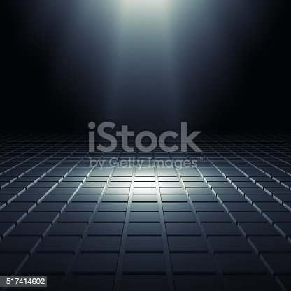 Abstract black shining digital interior background with square relief pattern on floor and blue spot light illumination, 3d illustration