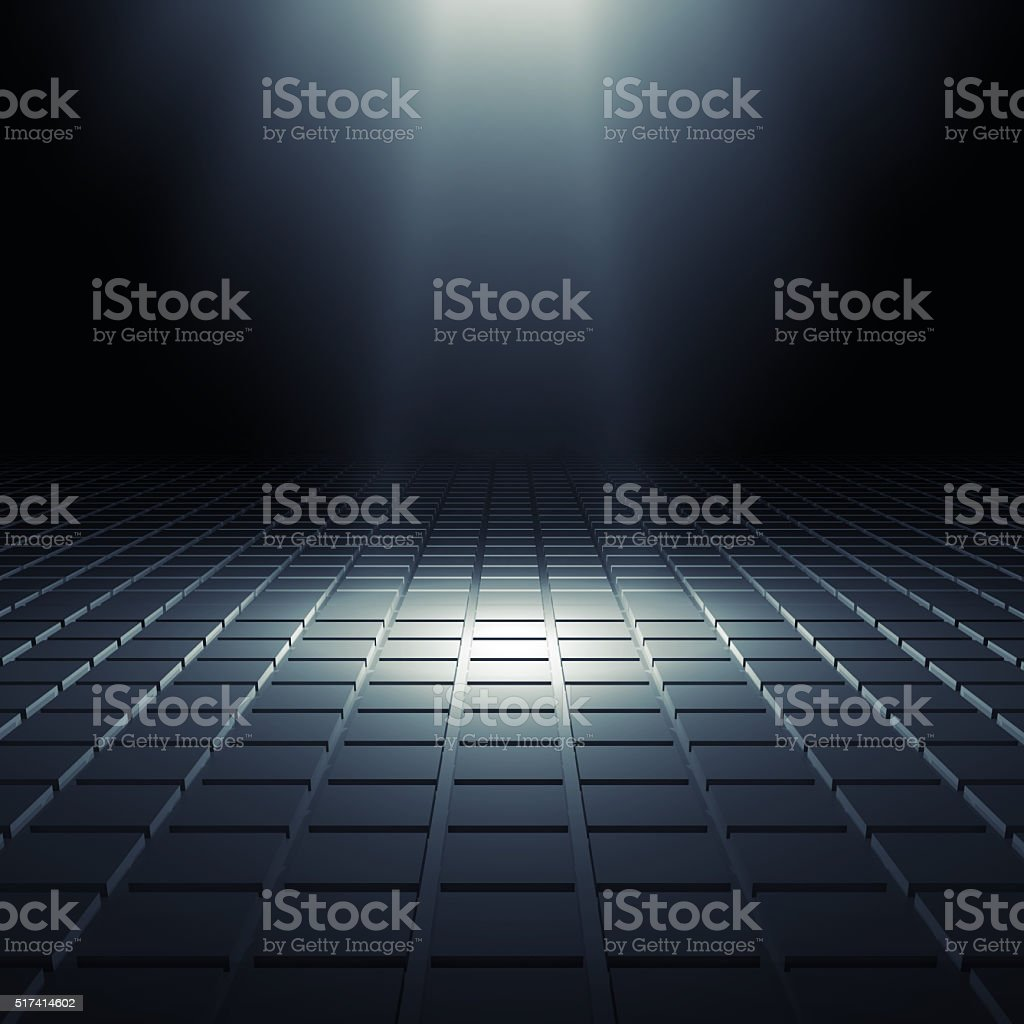 Abstract black shining digital interior 3d stock photo