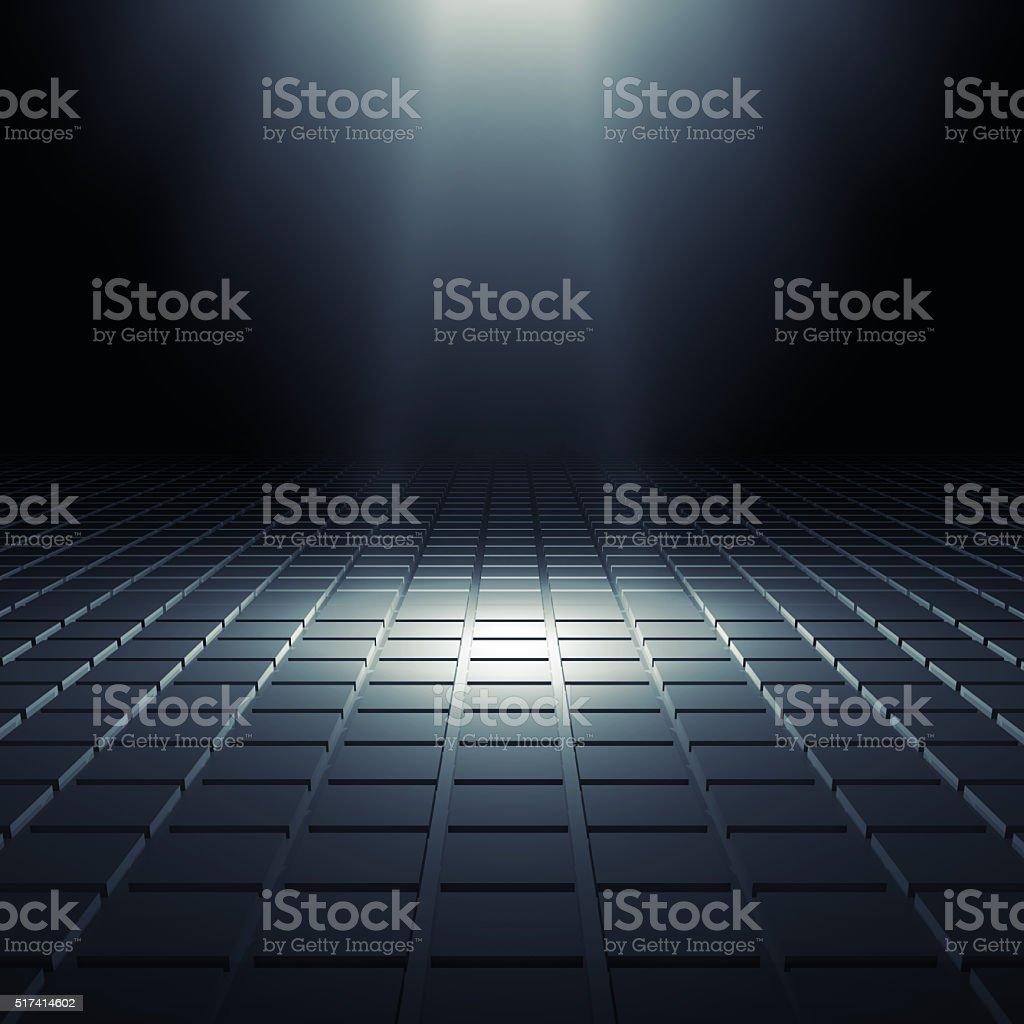 Abstrato preto brilhante interior 3D digital - foto de acervo