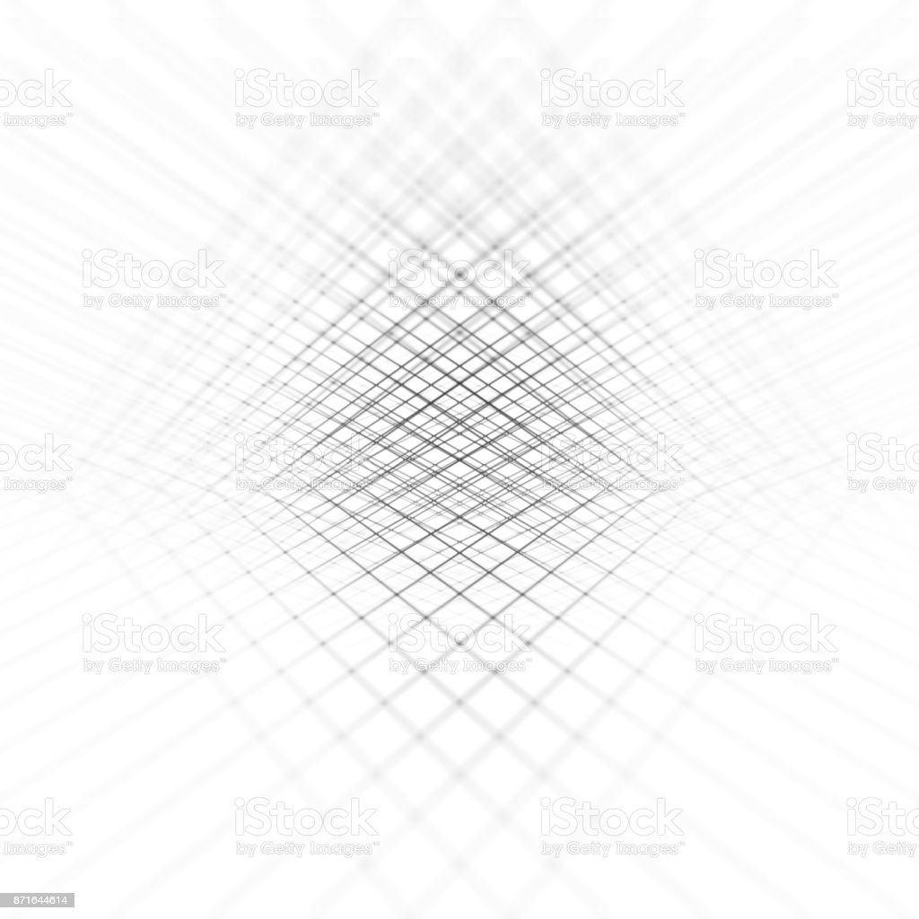Abstract black & white lines perspective background. stock photo