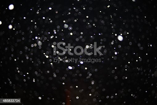 istock Abstract black white snow texture on black background for overlay 485833704