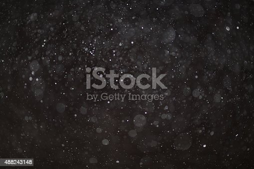 istock Abstract black white snow texture on black background for overlay 488243148