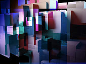 abstract design created in 3d and in photoshop using cube overlays