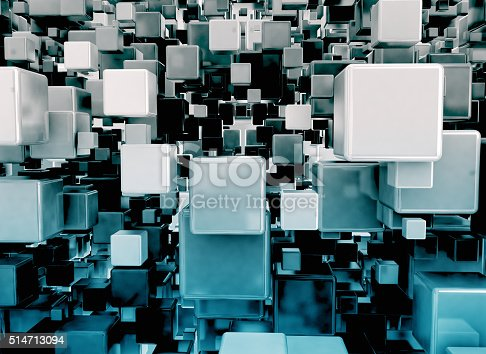 511983606 istock photo Abstract blue 3d cubes 514713094
