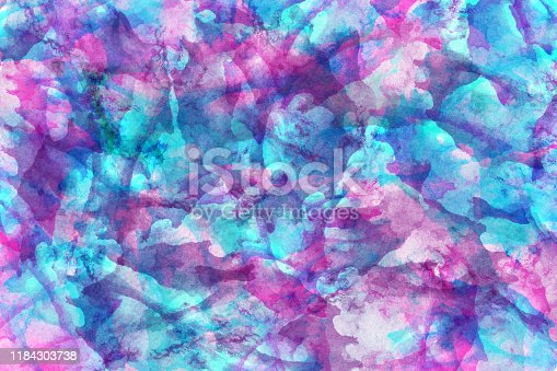 467414017 istock photo Abstract blue and purple watercolor background. Colorful aquarelle paint texture. Brush strokes. Vivid ink stain pattern. Paint splash. Modern painting 1184303738