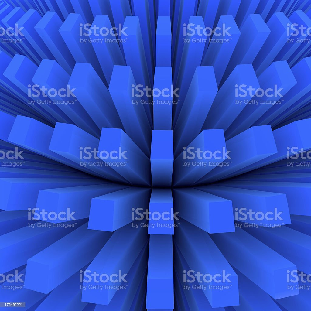 Abstract Blue Anemone 3d Render stock photo
