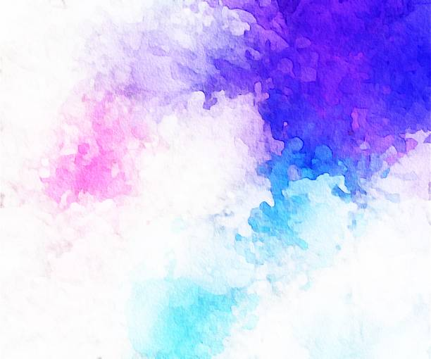 abstract blue, aqua, pink and white painting with brush strokes - purple watercolor stock pictures, royalty-free photos & images