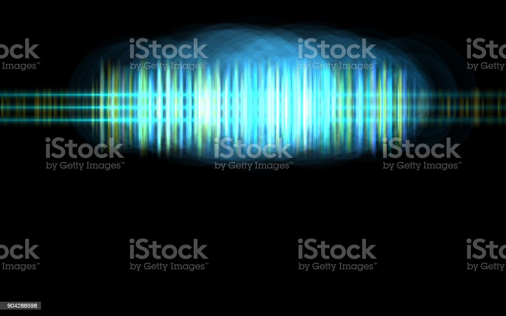 Abstract blue audio spectrum waveform on black background stock photo