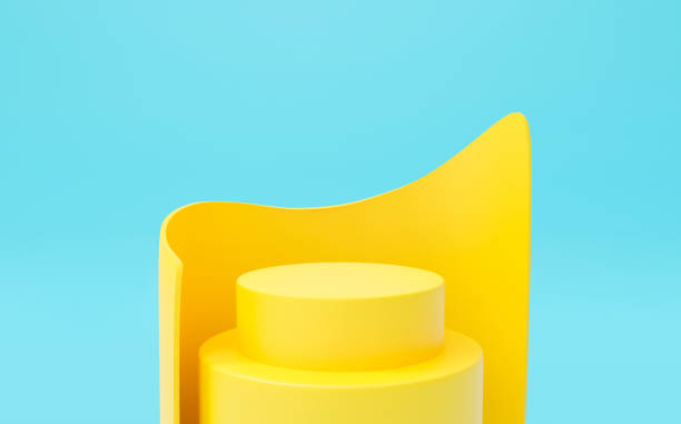 Abstract blue background geometric shape for presentation and exposition. 3D render of round stage podium pedestal for mock up store, display product, showcase. Minimal studio with yellow stand. stock photo