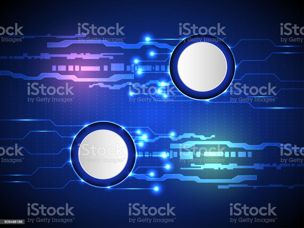Abstract blue background modern high technology concept and white circle with circuit board stock photo