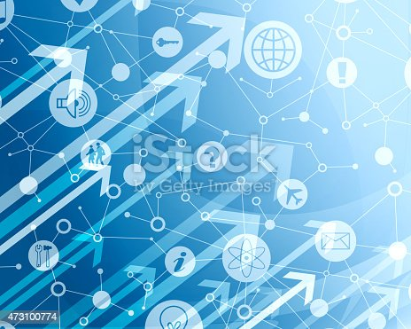 istock Abstract blue background with arrows and icons 473100774