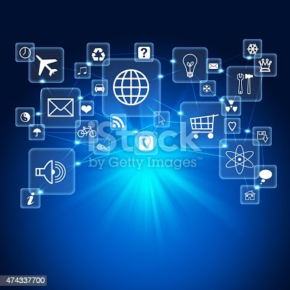 istock Abstract blue background with icons 474337700